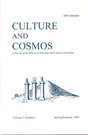 Culture and Cosmos Vol 3-1